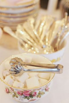 tea party - sugar tongs. I remember and did also have those cubed sugars and my daughter's wedding shower just five years ago. Yes, they still have them available. Such great memories from years ago. :)