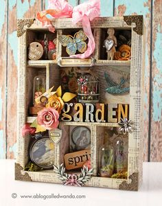 Spring Garden! Configuration Box by Wanda Guess using Tim Holtz Ideaology products.