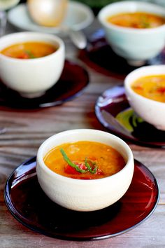 Roasted Pepper Red Lentil Soup with Tomato and Basil  - CaliZona