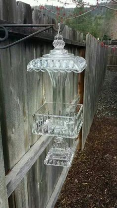 Old glass candy dishes repurposed as bird feeders Source Oh my! This is my absolute dream --to have something this fabulous as the...