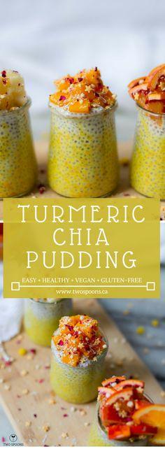 TUMERIC CHIA PUDDING   Easy, Healthy, Gluten-free, Vegan Breakfast   TWO SPOONS