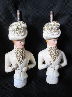 Vintage 2 bustes de Grandes Dames en plâtre pour une lampe /  Vintage 2 busts of Great Ladies in plaster for a lamp de la boutique Roselynn55 sur Etsy