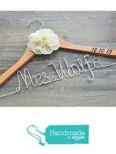 Personalized wedding hanger with date, custom bridal bride bridesmaid name hanger, custom wedding hanger, personalized wedding dress hanger from weddinghanger2015 http://www.amazon.com/dp/B01AJS1FJW/ref=hnd_sw_r_pi_dp_mvHtxb0Z900PN #handmadeatamazon