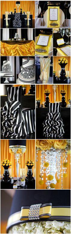 black white and yellow wedding party theme Black And Gold Party Decorations, Black Gold Party, Rustic Wedding Dresses, Trendy Wedding, Wedding Reception, Wedding Flower Arrangements, Wedding Centerpieces, Wedding Decorations, Decor Wedding