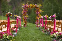 Love the brightly colored flowers and long ribbons for aisle decor Outdoor Ceremony, Wedding Ceremony, Our Wedding, Dream Wedding, Wedding Stuff, Pew Decorations, Wedding Decorations, Neon Flowers, Amazing Weddings