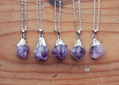 Silver Dipped Raw Amethyst Crystal Drop Necklace  by kissthefuture, £12.99