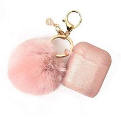 Pink Airpods Case with Cute Fur Ball Keychain -Protective Case Cover Silicone Skin for Apple Airpods 2 & 1 with Pom Pom - Lovely Novelty Cute Phone Cases, Iphone Phone Cases, Cute Cases, Apple Airpods 2, Accessoires Iphone, Earphone Case, Air Pods, Airpod Case, Macbook Case