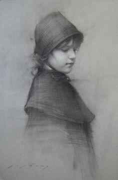 LIPKING Skylar B charcoal on paper 20x13