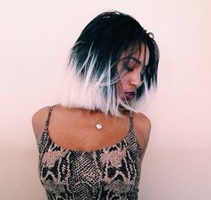 Coolest hair, short bob black and white two tone