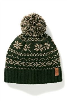 Green Fairisle Pattern Bobble Hat