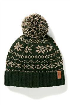 Green Fairisle Pattern Bobble Hat