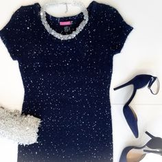 Navy Sweater Knit Sequin Dress Navy blue knit dress with sequins throughout.  Has belt loops but no belt.  Above the knee. Sized Large but fits Small/Medium. Say What? Dresses