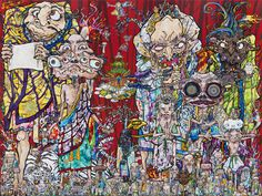 http://www.juxtapoz.com/current/takashi-murakami-in-the-land-of-the-dead-stepping-on-the-tail-of-a-rainbow-gagosian-gallery-west-24th-street