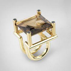 Ring   Gabriel Kabirski.  14k gold, topaz and black diamonds. Smoky topaz is my favorite.