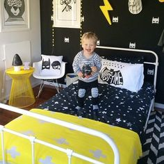 """Easily the most amazing little boys room we've ever seen! We're so blown away by how you've styled our Peyton King Single Bed in White ($299) @katecoveny…"""