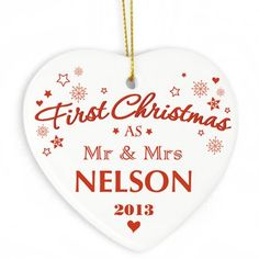 Personalised Our First Christmas Ceramic Heart Decoration