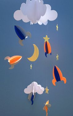 Baby Mobile - Rockets and Stars Hanging/Space Mobile/Baby Paper Mobile/Nursery Mobile Space Party, Space Theme, Diy And Crafts, Arts And Crafts, Paper Crafts, Paper Mobile, 3d Mobile, Diy For Kids, Crafts For Kids