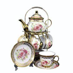 European Classic Fine Bone China Tea Set Titanium Wedding Gift 14 Piece Ceramic Teacup Set Tea Service  Teacup and Saucer Set-in Coffee & Tea Sets from Home & Garden on Aliexpress.com | Alibaba Group