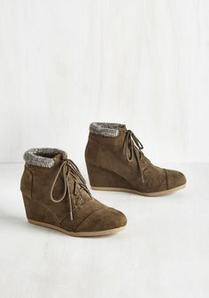 Walk the Casbah Bootie - Green, Green, Casual, Military, Boho, Festival, Fall, Low, Faux Leather, Good, Wedge, Ankle