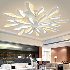 Fashion White Acrylic Ceiling Lamp 3/5/9/12 Heads Modern Led Ceiling Lights For Living Room Lamparas De Techo Plafondlamp Avize