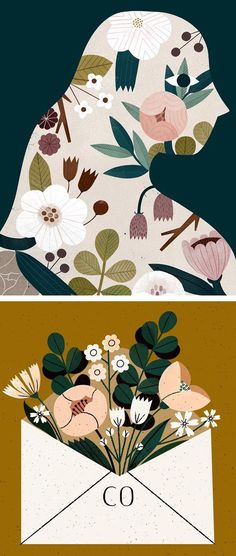 Illustrations by Clare Owen #illustration #flowerillustrations #catillustrations