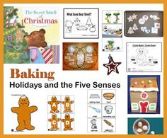 Christmas Baking and the Five Senses - preschool and kindergarten crafts, activities, folder games, emergent readers, literacy lessons, aligned to common core state standards, rhymes and songs.