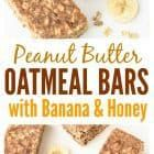 Healthy, filling and delicious Oatmeal Breakfast Bars with peanut butter, banana, and honey. This breakfast bars recipe will keep you powered for hours. #breakfast #oatmeal #energybars