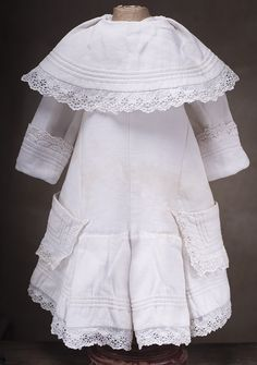 Antique Original White Pique Dress for French Bebe Jumeau Bru Steiner doll 26-27""