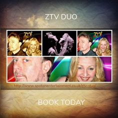 ZTV Duo. John and Karen who make up ZTV are quite well travelled covering many circuits including 5 Star Hotel circuit in the Middle East, Pontins, Haven, Holiday Centres, clubs, weddings, events. They will have an entertainment option suitable for your venue or occasion.