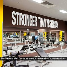 Stronger Than Yesterday Quote Sports Decals Gym Wall Decal Workout... (72  BAM
