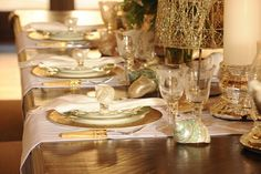 """""""Beach themed Christmas"""" table setting for Holly Robinson Peete on Celebrity Holiday Homes HGTV special."""