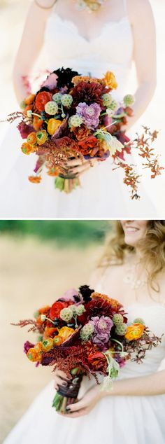 autumnal bridal bouquet with lots of textures in deep burgundy, red, yellow, and orange with shades of silvery grey