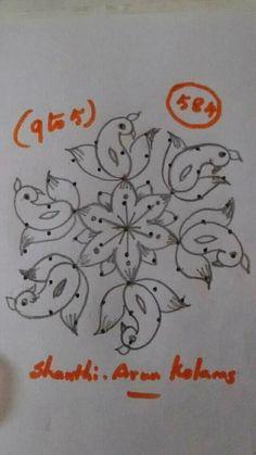 Rangoli Patterns, Rangoli Kolam Designs, Rangoli Ideas, Rangoli Designs Images, Kolam Rangoli, Flower Rangoli, Beautiful Rangoli Designs, Small Rangoli Design, Rangoli Designs With Dots