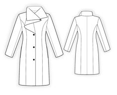 Coat With Shaped Collar  - Sewing Pattern #4083 Made-to-measure sewing pattern from Lekala with free online download.