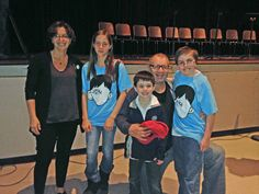 "Peter starred as ""Auggie"" in a staged reading of Wonder scenes in Santa Monica. He is pictured here with the author @rjpalacio, his brother Jacob, and Ed & Sophia (who played Via) O'Neill."
