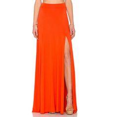 Rachel Pally x REVOLVE Josefine Maxi Skirt ($130) ❤ liked on Polyvore featuring skirts, red maxi skirt, long red skirt, front slit skirt, long skirts and rachel pally skirt