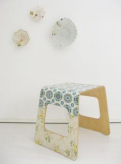 Ikea Benjamin stool + wallpaper + Mod Podge = ace