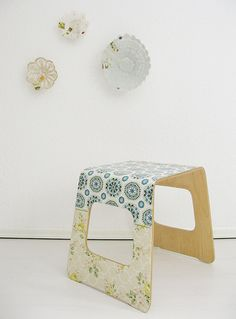 mod podge + wallpaper + step stool