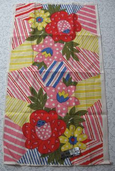 Parisian Prints floral/stripes linen tea towel.