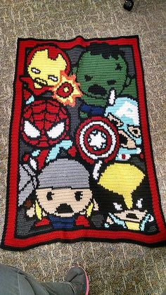 awesome geek teens boys blanket gift , even your little student going off to uni will love this as a going away gift , superhero blanket to make Ravelry: Little Heroes inspired by Marvel pattern by MeLynda Williams