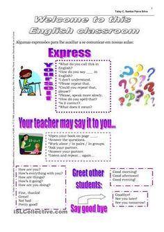 It is a worksheet that I like to use in the first day of class. It has classroom…
