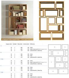 Diseño De Muebles Madera: Construir Biblioteca De Cubos Irregulares                                                                                                                                                                                 Más