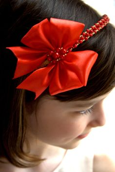 Red Satin Bow Headband, Girls Headbands, Christmas Headband, Toddler Headband, Hair Bows, Gold headpiece, Bohemian Headband, Pearl Headband
