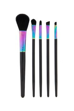 A set of iridescent makeup brushes featuring flat and angled brushes, a blush brush, and liner brush.