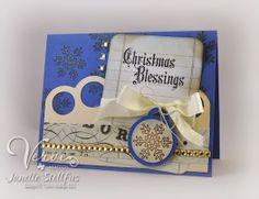 Card by Janelle Stollfus using Holiday Greetings and Christmas Blessings from Verve.  #vervestamps