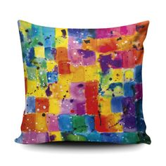 A vibrant, multicolour cushion with soft faux suede perfect for brightening up your living room or study. Colourful Cushions, Colorful Interiors, Vibrant, Study, Rainbow, Throw Pillows, Living Room, Painting, Art