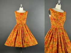 1950s autumn bloom dress / floral full skirt by NodtoModvintage, $184.00