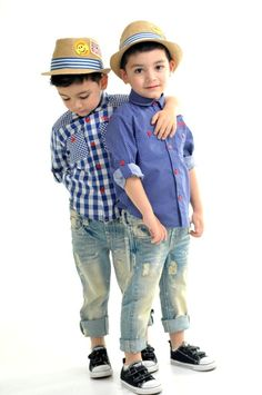 How adorable are these #outfits!! Love that they are similar but not exactly the same.  A great option for #twin #boys.  Vintage Jethro & Nash button down shirts.