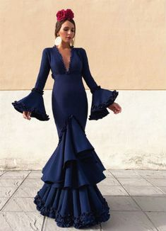 Deep V Neck Long Prom Dress , Charming Prom Dress Full Toned Spanish Dress, Spanish Style, Bridesmaid Dresses, Prom Dresses, Wedding Dresses, Mermaid Skirt, Look Fashion, Dress For You, Red Carpet Looks