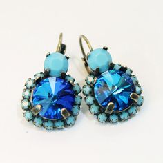 Turquoise Sapphire Blue Crystal Earrings Cobalt Aqua by TIMATIBO